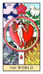 The World in the Alchemical Tarot, symbolizing the Great Work, The Red Stone